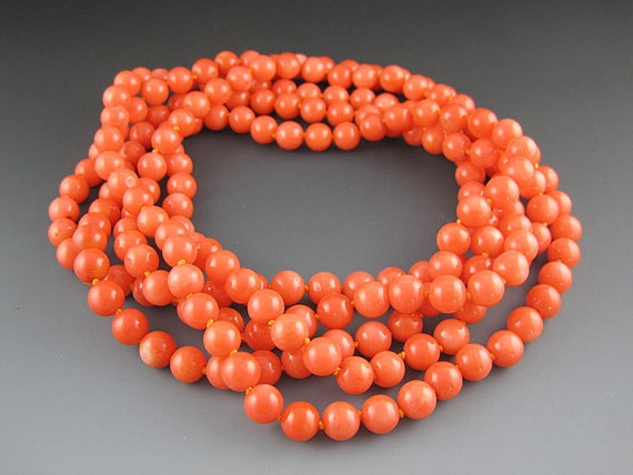 Coral Necklace - Long Beaded Necklace -  Orange - 60 Inches