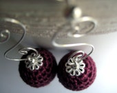FREE SHIPPING - Dark red crocheted earrings