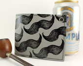 On Sale - Grey Mustache Wallet - Sure to please any Mustache lover