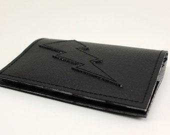 Black on Black Lightning Bolt Mini Wallet - All Black All The Time