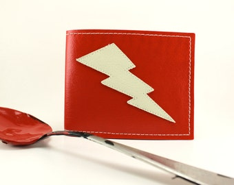 Lightning Bolt Wallet in Red and White - Takin Care of Business