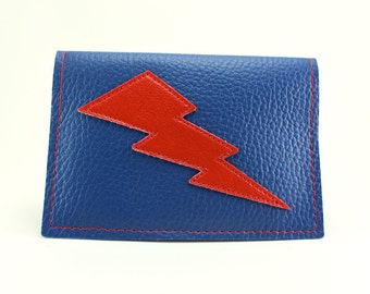Blue and Red Lightning Bolt Mini Wallet - Other Bolt colors to choose from