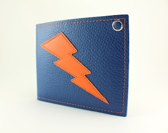 Blue and Orange Lightning Bolt Billfold Wallet - Other Bolt colors to choose from