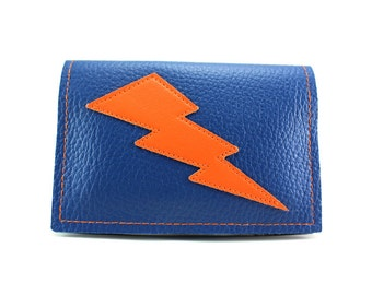 Blue and Orange Lightning Bolt Mini Wallet - bolts in too many colors