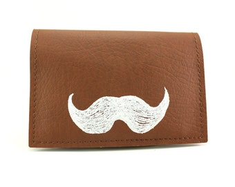 On Sale - Mustache Wallet - Brown and White Credit Card Mini