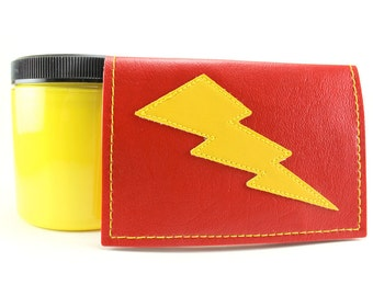 Red Yellow Lightning Bolt MIni Credit Card Wallet - Takin Care of Business