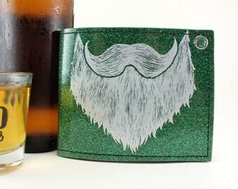 ON SALE - Weird Beard Billfold Wallet - Green Metal Flake - Let's Party
