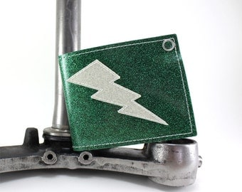 Green Metal Flake Lightning Bolt Wallet - Takin Care of Business - Other Flakes to choose from