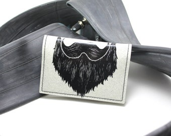 On Sale - Weird Beard Mini Wallet - White Metal Flake - Join the new revolution