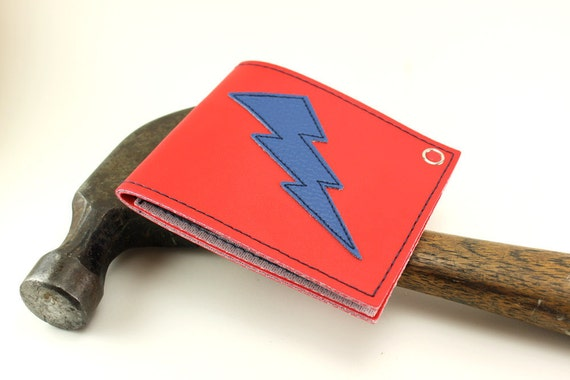 Lightning Bolt Wallet in Red and Blue - Puttin the hammer down