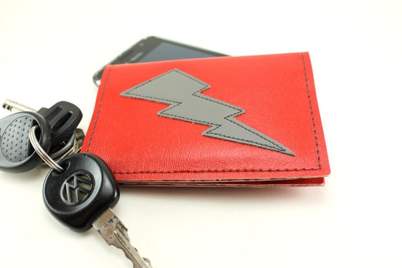 Lightning Bolt Wallet in Red and Grey - Think Thin