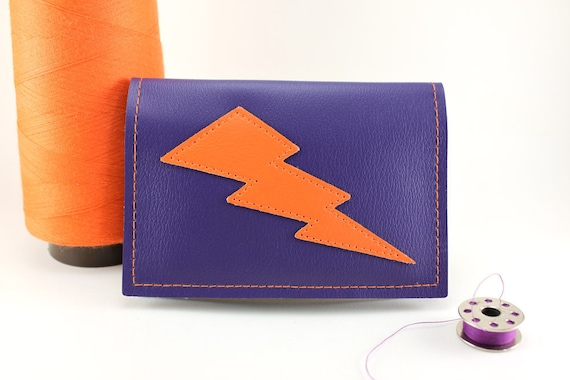 Purple and Orange Lightning Bolt Mini Wallet - Too much of a good thing