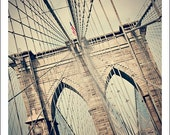 Pathway- abstract beige, burgundy and indigo photograph of the Brooklyn Bridge- Fine Art Urban Photography Print- 8x10