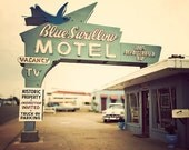 Photography: Retro Decor, Wall Art, Home Decor, Motel Art-  The Blue Swallow, Retro Modern, Mad Men Style, Vintage Motel Sign- 8x10