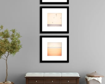 Nature Photography, neutral, minimalist beach home decor -  Blue Triptych,  cottage decor, periwinkle, beige, peach, wall art