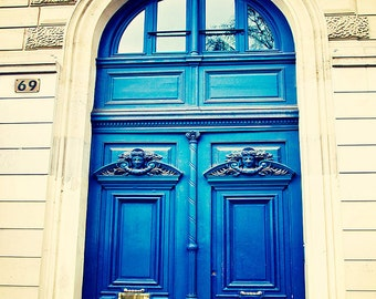 Paris Print, Blue Door Photograph, Montmartre Wall Art, Home Decor, French Travel Photography, Parisian doors, cerulean blue, indigo, beige