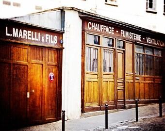 Paris Art Print, Door Photography, Montmartre Streets Photograph - brown, golden tones, Travel Decor, Architecture France, Rustic Home Decor