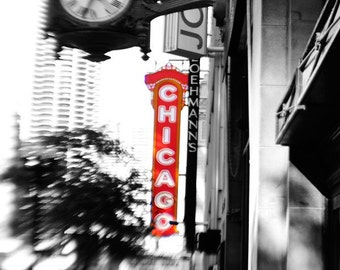Chicago Photography, Theater, Fields Clock, Chicago Wall Art Print, Black and White, Red, Landscape Photograph, Home Decor, Chicago Skyline