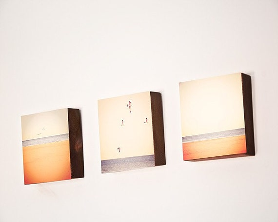 """Wood Photo Blocks- Beach Photography- """"The Blue Triptych""""  three photographs of beach scenes mounted on  finished wood blocks"""