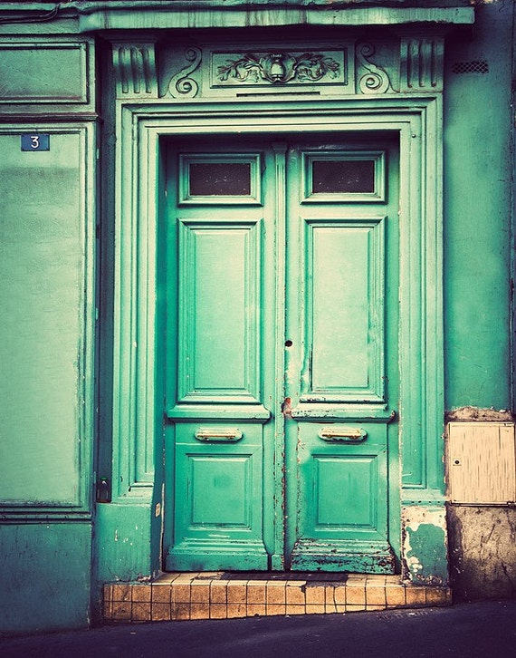 Paris Print, Door Photography, Travel Wall Art Print, Rustic Decor, sea foam green, mint green, beige, old door, Montmartre architecture