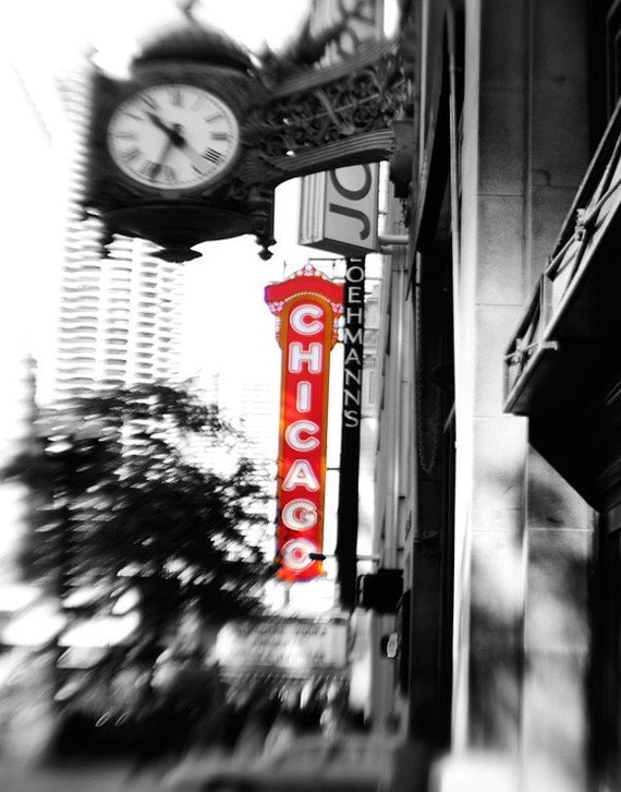 Chicago Wall Art chicago photography theater fields clock chicago wall art