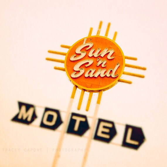 Retro Photography - Route 66, Etsy Wall Art - Sun n Sand - vintage motel sign photograph, citrus orange, sunshine yellow