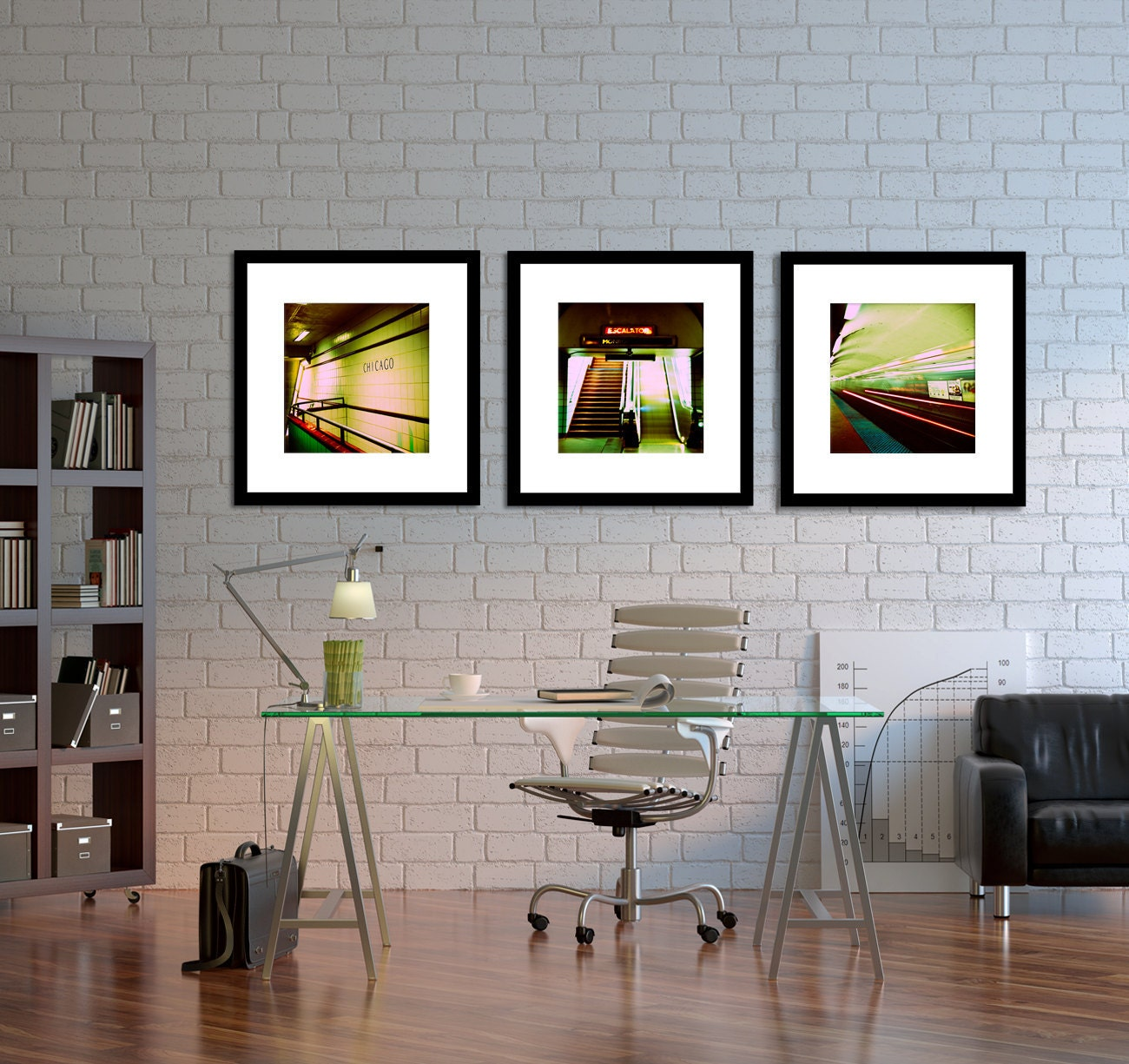 chicago photography home decor chicago subway wall art abstract art under 100 - Office Decorations