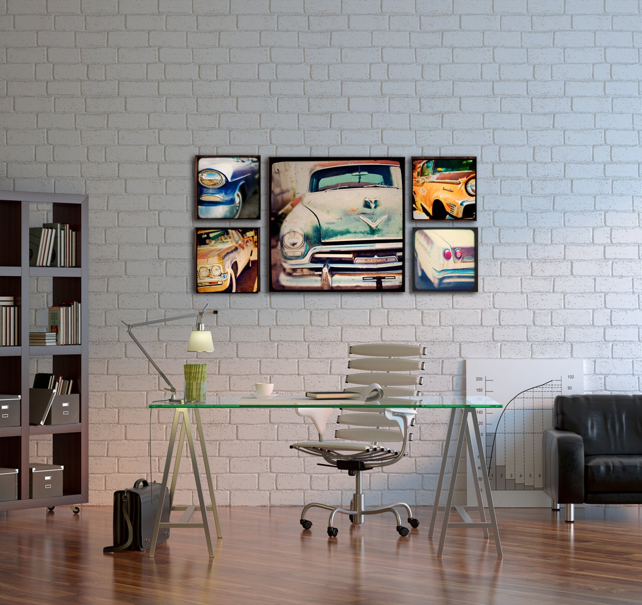 Interior Decor Wall Paintings : Wood photo blocks vintage cars home decor wall art