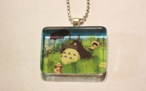 Totoro, Satsuki, and Mei Rectangle Glass Tile Necklace