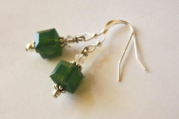 Saria's Song - Green Opal Swarovski Crystal Cube Sterling Silver Earrings Legend of Zelda