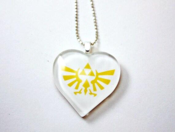 Legend of Zelda - Gold Triforce Heart Shaped Glass Tile Necklace