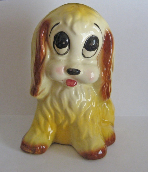 Vintage Ceramic Puppy Planter, Vase