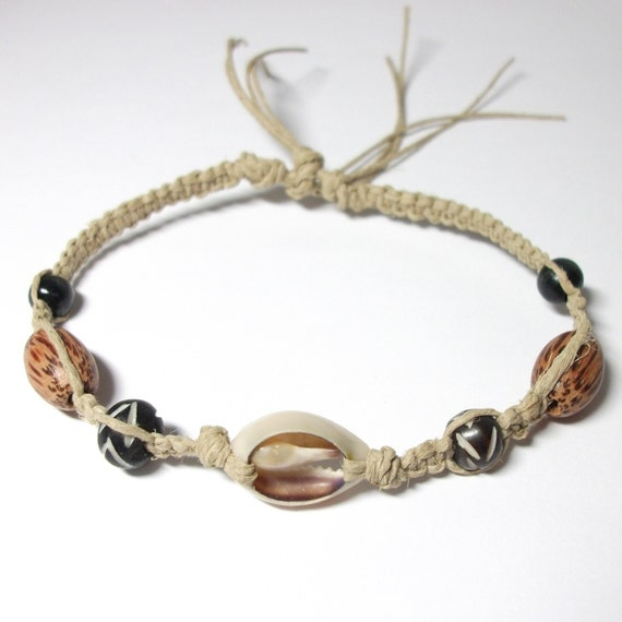 Hemp Anklet with Cowrie Shell, Bone and Wood Beads - Unisex