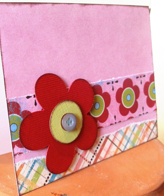Red flower Multi-purpose card - red and pink