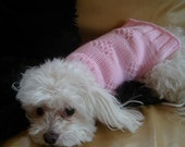 Dog Sweater Hand Knitting Pattern PDF Pink or Red Lacey Hearts