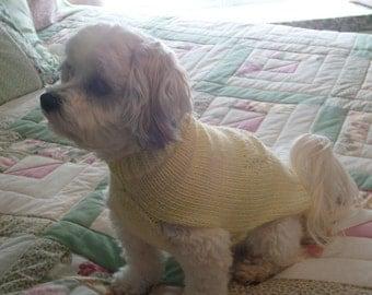 Dog Sweater Hand Knitting Pattern PDF Yellow Lacey Butterfly