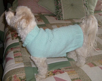 Dog Sweater Hand Knitting Pattern PDF Green Lacey Dragonfly