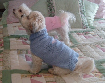 Dog Sweater Hand Knitting Pattern PDF Blue Lacey Angel with Heart