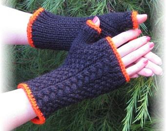 The Natalie Fingerless Gloves in Black and Orange - Made to Order