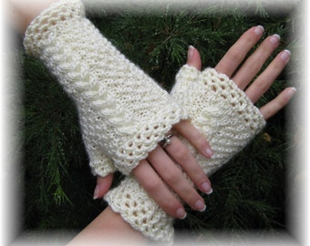 Katherine Fingerless Gloves in Ivory - Made to Order