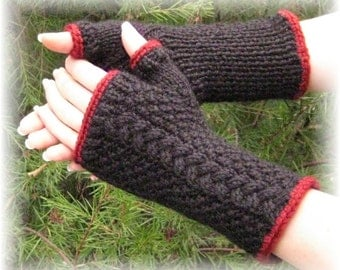 Natalie Fingerless Gloves in Black and Red - Made to Order