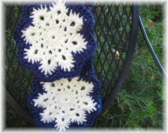 The Double Snowflake Scarf  in Blue