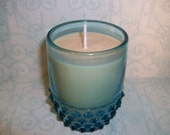 RESERVED FOR LHP        Banana Nut Bread Soywax Candle in Blue Hobnail Glass Tumbler