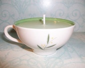 RESERVED FOR JULIE-------Green Tea and Lemongrass Soywax Candle in Mini Vintage Tea Cup