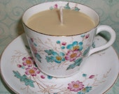 Honeysuckle Jasmine Soywax Candle in Pink and Aqua Floral Tea Cup with Saucer
