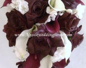 Plum / Eggplant  Real Touch, Latex Calla lily & Roses Silk Flower Wedding Bridal Bouquet