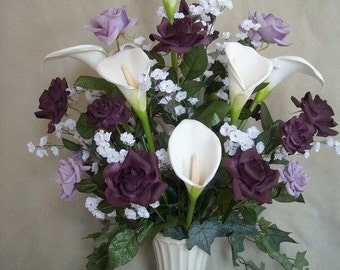 Purple / Lavender Roses and White Calla Lilies Silk Flower Floral Arrangement / Centerpiece