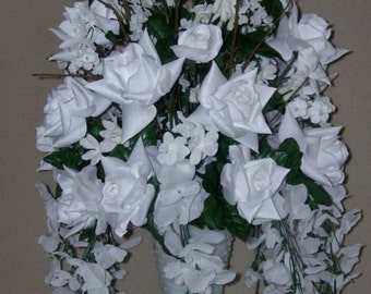 White Roses and Wisteria Flower Floral  Arrangement / Centerpiece