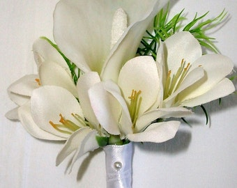 Calla Lily, Freesia Corsage Cream, Ivory Off- White  Real Touch