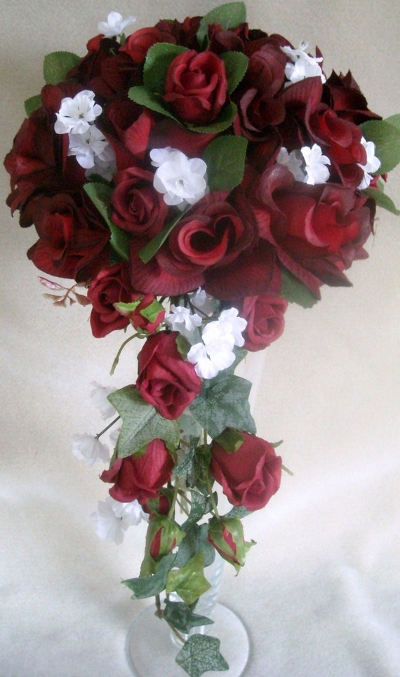 Red Roses Cascading Bridal Wedding Bouquet